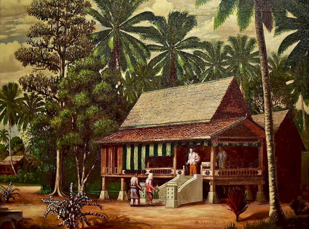 A house in Malaysia - house, malaysia, art, picture. A group of palm trees on the side of a building.