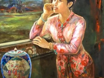 Malaysian woman looks out the window - art, painting, malaysia, woman. A painting of a person.