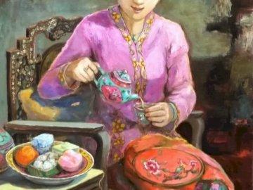 Czas na herbatę - kobieta, sztuka, malarstwo, orient. Osoba stojąca przed tortem urodzinowym.
