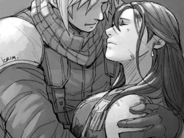Final Fantasy - Tifa and Cloud perfect couple love. A drawing of a person.