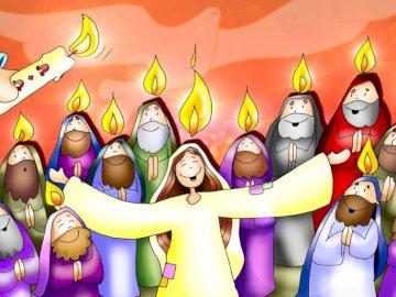 Pentecostés - El día de Pentecostés se encontraban reunidos María y los apóstoles, esperando la promesa de Jes