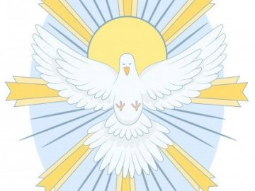 Holy Spirit - Dove - symbol of the Holy Spirit. A close up of text on a white surface.