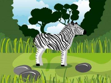 zebra-16el. - Puzzle - zebra from 16 elements. Exotic animals.