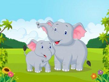 Elefante y elefante - Puzzle - elefante y elefante. Animales exóticos.