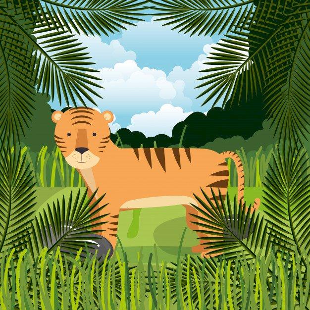 Tiger - 16 τεμ - Παζλ - μια τίγρη. Εξωτικά ζώα. Ένας φοίνικας (4×4)