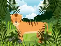 Tiger - 16 pcs - Puzzle - a tiger. Exotic animals. A palm tree.