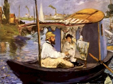 Manet painting - Monet in his study boat - Manet's picture. Impressionism. A small boat in a body of water.