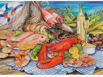 Owoce morza - Martwa natura, owoce morza. Zbliżenie wielu różnych rodzajów żywności na stole.