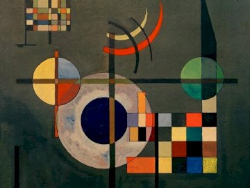 kandinsky - child puzzle. A close up of a colorful wall.