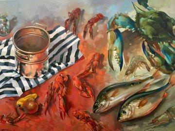 Ryby, martwa natura - Ryby, martwa natura, still nature. Homar na stole.