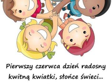 Giorno dei bambini - Disporre i puzzle. Leggi gli auguri nel giorno dei bambini. Un disegno di un personaggio dei cartoni