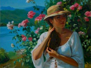 Laszlo Guyas, painter - A woman, followed by a bush of roses and mountains. A woman wearing a hat.