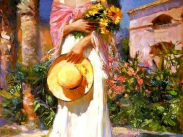 Vladimir Volegov, painter - A woman with a hat and flowers