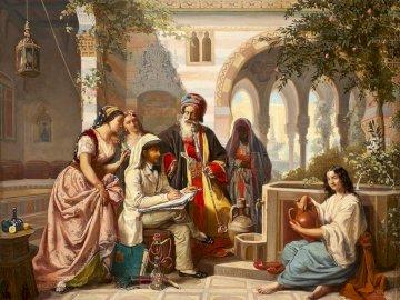 Artiste esquisse - Peinture Jan Baptist Huysmans. Un groupe de personnes assises devant un immeuble.
