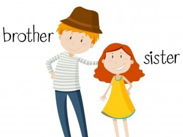 Brother and sister - Make a picture with siblings. A close up of a womans face.