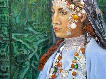 Femme berbère - Artiste marocaine, femme. Une peinture d'une personne.