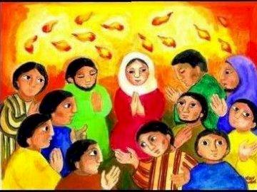 PENTECÔTE - Le Saint-Esprit descend sur Marie et les apôtres. Un groupe de personnes dans une pièce.