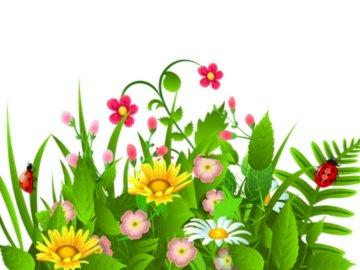 Wiesenpuzzle - Vervollständige das Puzzle mit dem Puzzle. Ein Blumenstrauß.