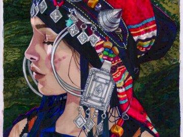 Berber Girl II - art, femme, berbère,. Une personne portant un chapeau rouge.