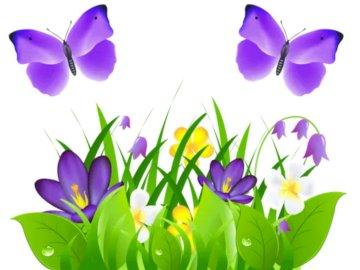 Łąka wiosną - Ułóż puzzle z rozsypanki. Wazon wypełniony fioletowymi kwiatami.
