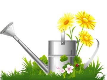 Gießkanne mit Blumen - Vervollständige das Puzzle mit dem Puzzle. Eine Blumenvase auf einem Tisch.