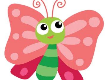 Mariposa rosa - Completa el rompecabezas con el rompecabezas. Un primer plano de los gráficos.