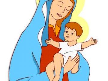 Marie avec l'enfant Jésus - image de Marie avec l'enfant dans ses bras. Un gros plan d'un logo.
