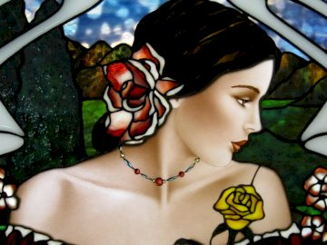 Español - Chica española   Pintado a mano por Jim Berberich, vidrieras