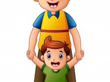Vater und ich - Das Bild zeigt einen Jungen mit seinem Vater. Eine Spielzeugpuppe.