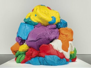 Jeff Koons - Jeff Koons play doh. A colorful toy on a table.