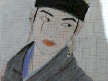 tak wygląda mój rysunek - narysuj suga z jego nowej wersji nv, więc wygląda. Osoba w kapeluszu.