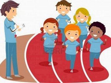 EDUCAZIONE FISICA - L'educazione fisica esercita la mente. Un disegno di un personaggio dei cartoni animati.