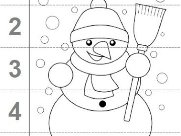 snowman - Snowman and numbers, combine snowman elements and count to 5. A close up of a map.