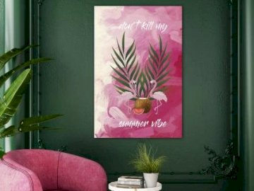 Bild des Präsidenten - Dieses Bild zeigt eine Blume mit zwei Flamingos, auf der Sie einen schönen Stuhl sehen können, und
