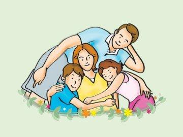 Familienrätsel - Familie - machen Sie ein Bild von der Familie. Eine Nahaufnahme eines Logos.