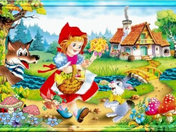 Hood - Guessing what a fairy tale is by arranging puzzles.