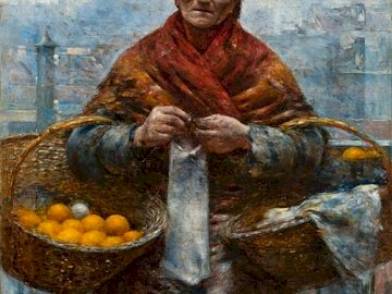Aleksander Gierymski, the orator - Aleksander Gierymski, Jewish woman with oranges (Orange). A man sitting in front of a building.