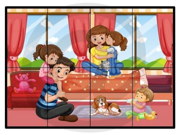 Family fun - Arrange the puzzles. Who do you see in the picture?.