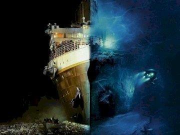 Titanic é um grande colosso. - Belo quebra-cabeça representando o naufrágio do Titanic.