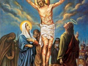 Maryja pod krzyżem - Testament z Krzyża. Obraz pomocny do przekazania prawdy o tym ,że Maryja jest naszą Matką. Posą