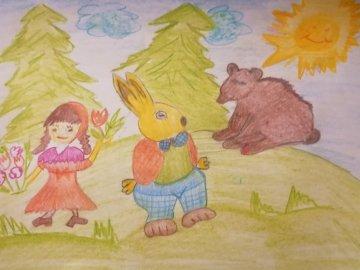 BOSQUE Y OSO - Dibujo realizado por el alumno.