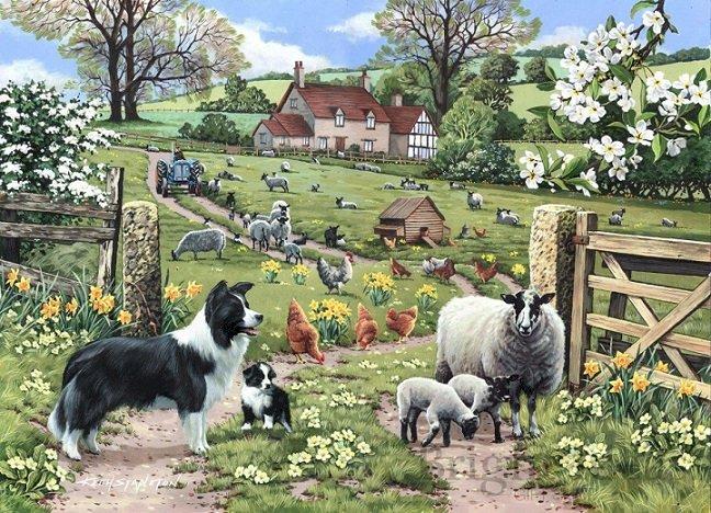 Venkovské krajiny. - Puzzle: venkovské krajiny. Skupina ovcí se psem v zahradě.