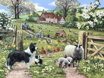 Rural landscapes. - Puzzle: rural landscapes. A group of sheep with a dog in a garden.