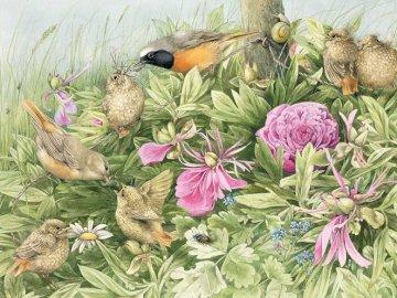 Ptasia uczta. - Układanka. Zwierzęta. Ptasia uczta. Grupa różowych kwiatów.