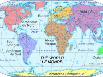 planisferio - mapa del mundo para aprender geo. Un primer plano de un mapa.