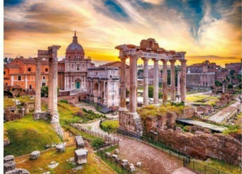 Malarstwo: Rzym o zmierzchu. - Układanka: Rzym o zmierzchu. Duży długi pociąg na torze kolejowym z budynkami w tle z Forum Roma
