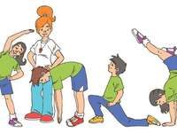 physical education class - Exercises at home. Sports at home stay active. Physical education image.