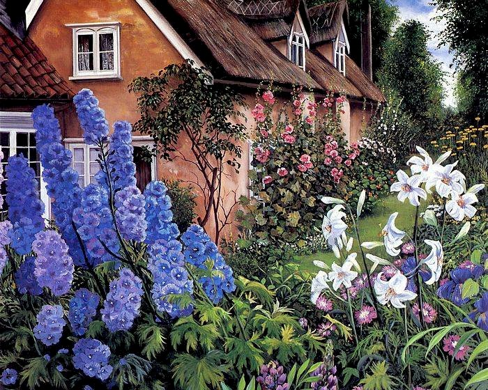 Stara chata - Susan Rios, malarka, jak żywe. Zakończenie up kwiatu ogród przed ceglanym domem.