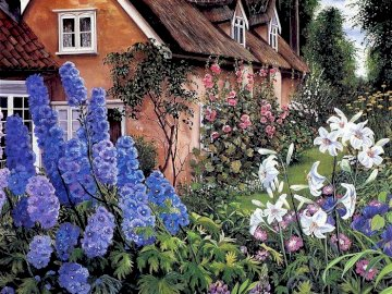 Old cottage - Susan Rios, painter, how alive. A close up of a flower garden in front of a brick building.