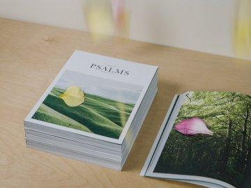 Kniha žalmů s květinou - Zelený list na bílém poli. Los Angeles.